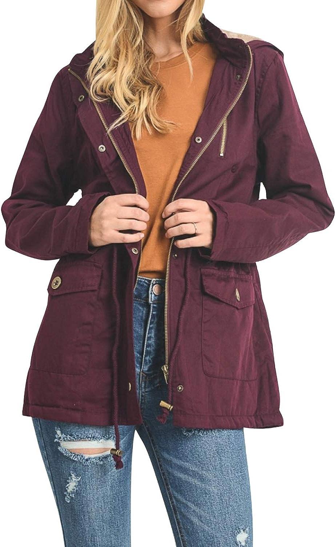 FASHION BOOMY Womens Zip Up Safari Military Anorak Jacket with Hood Drawstring Regular and Plus Sizes 2X-Large G-Wine