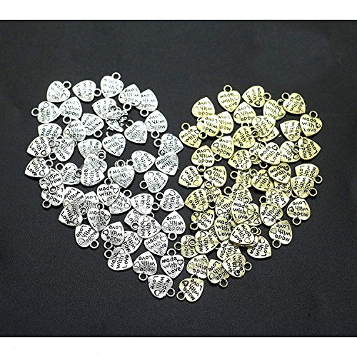 - IDS Made with Love Heart Charms Pendants Necklace, Nickel Plated Silver Tone, Sliver, Golden, 100 Pcs