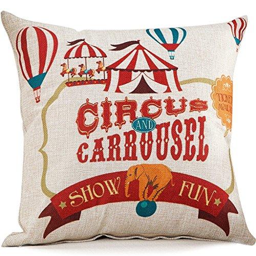 Circus Series Cotton Linen Blend Cushion Square Decorative Throw Pillow Cover The (Circus Bedding)