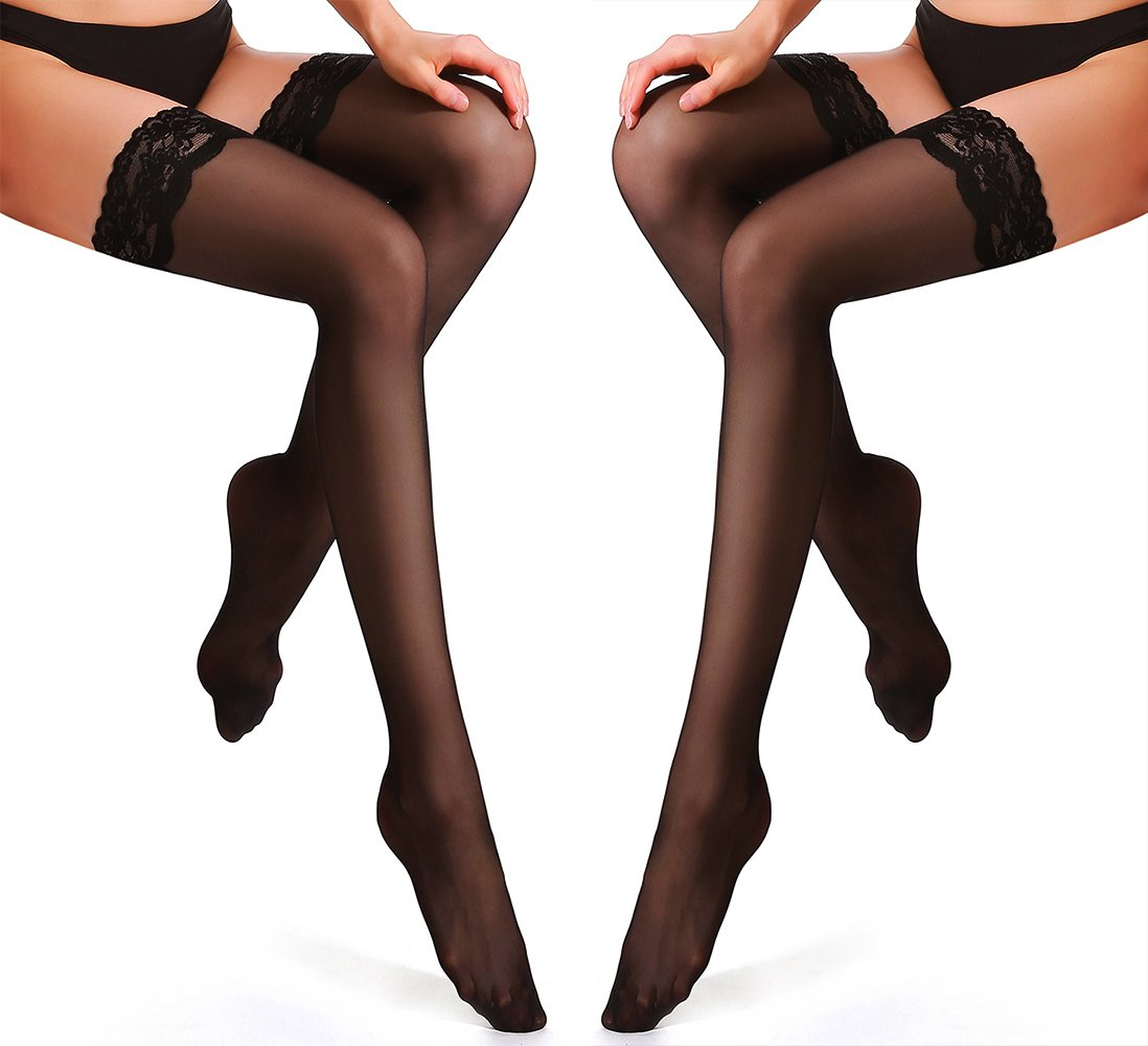 HONENNA Thigh-High Stocking with Silicone Lace Top 2 Pair Classical Sheer Silky Tights (Medium,2 Pair, Black)