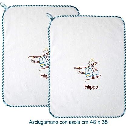 """coccole- toalla con Asola Scuola Materna y guardería Nido- """"helicóptero turquesa"""