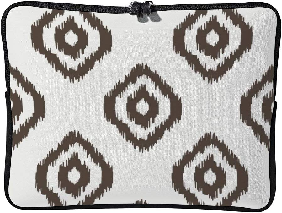 Geometric Seamless Pattern White and Brown Laptop Sleeve for MacBook Air//MacBook Pro Compatible with 13 Inch Notebook Two-Way Zippers Laptop Carry Bag Case Cover