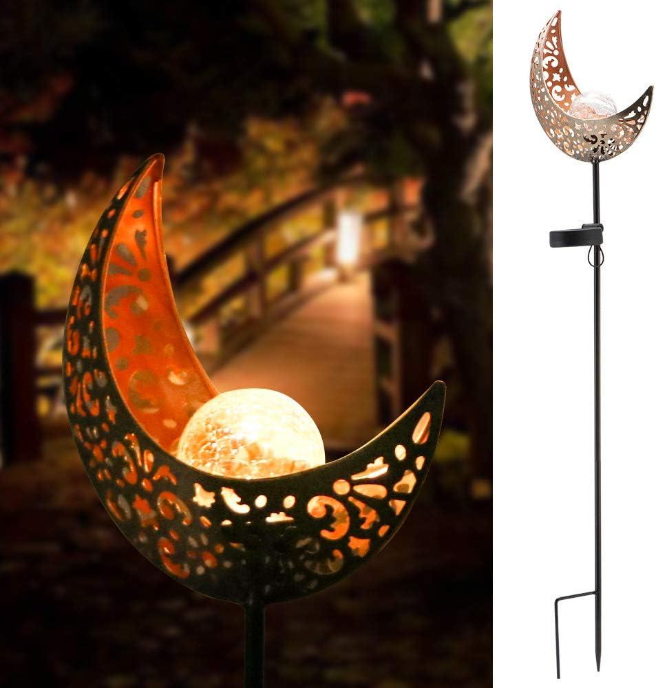 Solar Powered Garden Lights, DDSKY Moon Glass Stake Metal Lights IP65 Waterproof Warm White LED Solar Light for Outdoor Garden Lawn Patio Courtyard
