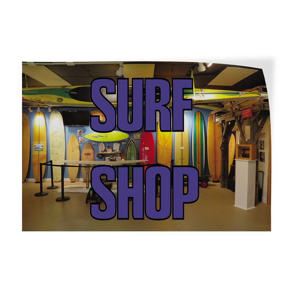 One Sticker Decal Sticker Multiple Sizes Surf Shop #1 Style D Business Surf Shop Outdoor Store Sign Orange 69inx46in