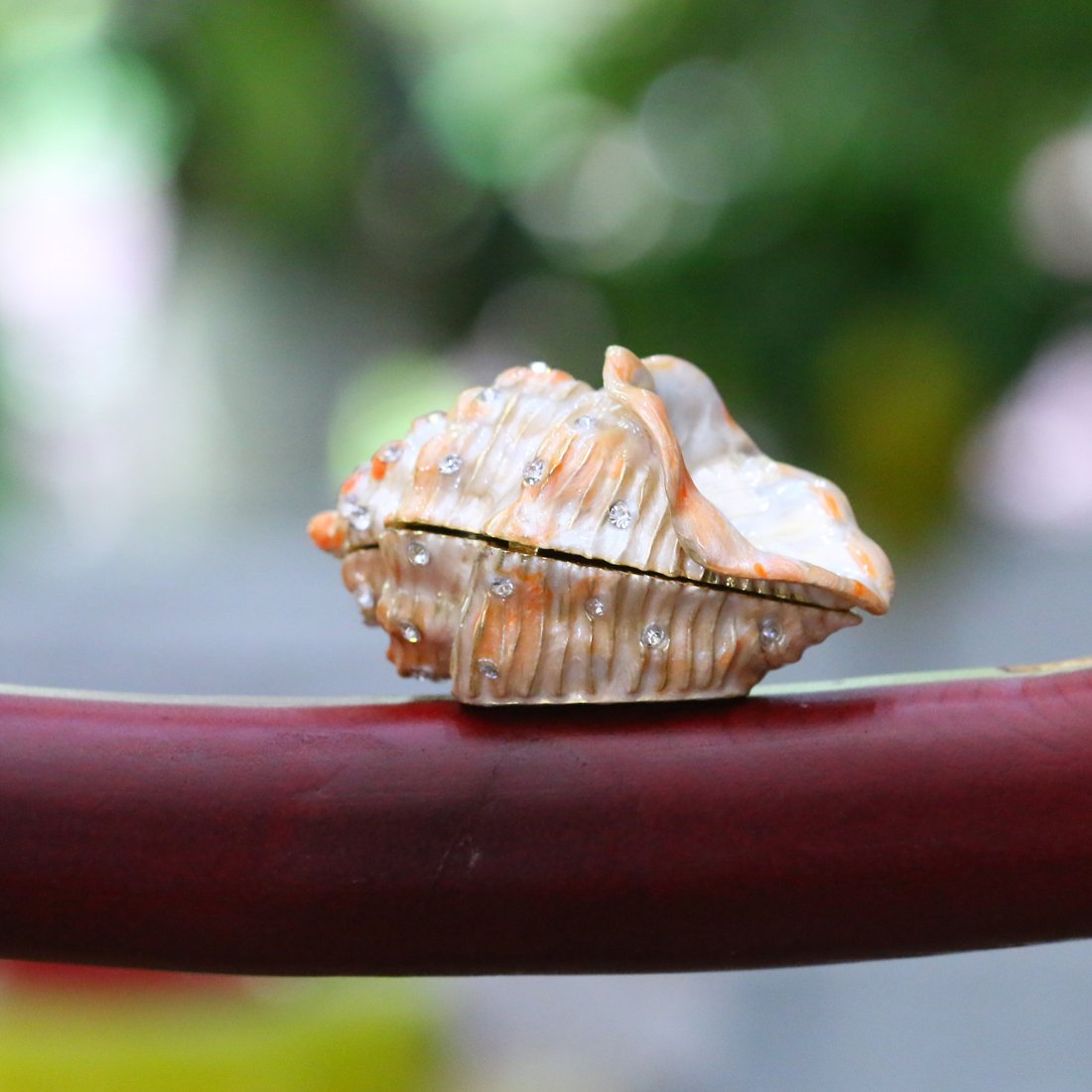 H/&D Metal Glass Trinket Box Ring Holder Small Seashell Figurine Collectible Table Centerpiece Pearl Mussel