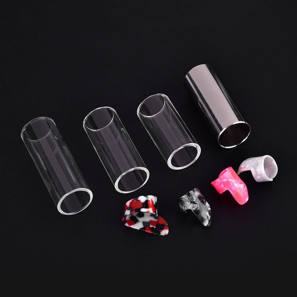 4 Plastic Protective Finger Picks Plastic Box Guitar Slides Set Included 3 Glass Slides Stainless Steel Slides