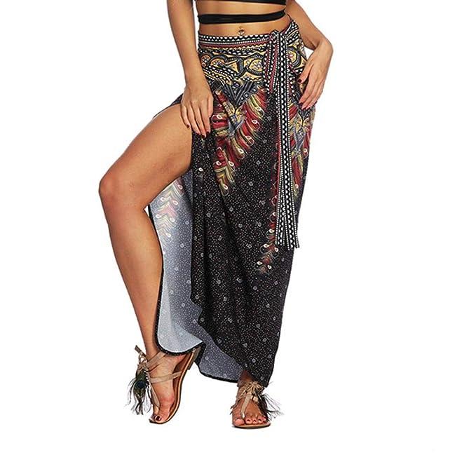 Amazon.com: WM & MW falda para mujer Boho africano estampado ...
