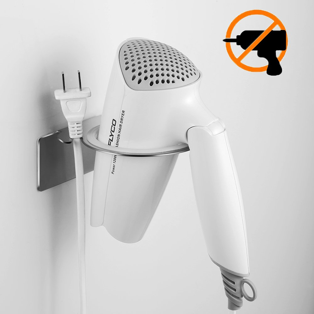 Ecooe hairdryer holder stainless steel wall mounted hair dryer storage hairdryer rack without drilling with 3M adhesive and cable tidy