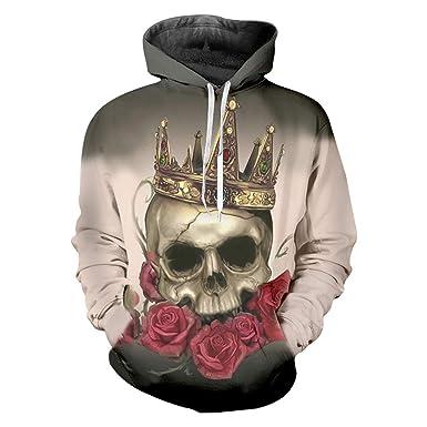 284f0b067363 Rose Men s Harajuku Print Skull with Crown 3D Sweatshirt Hoodie Hip Hop  Hooded Pullovers Long Sleeve