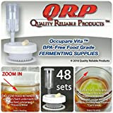 48 QRP No Messy Overflow No Weights Needed Mold-Proof Mason Jar Fermentation Kits with Exclusive Food Retainer Cups keep food submerged in brine (CLUB PACK 48 WIDE MOUTH KITS)