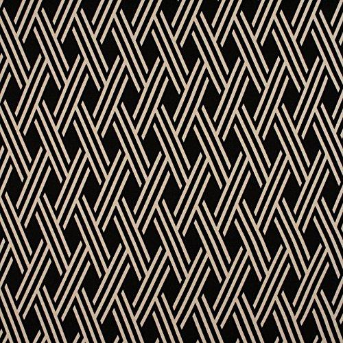 Tuxedo Black Neutral Diamond Lattice Print Upholstery Fabric by The Yard ()