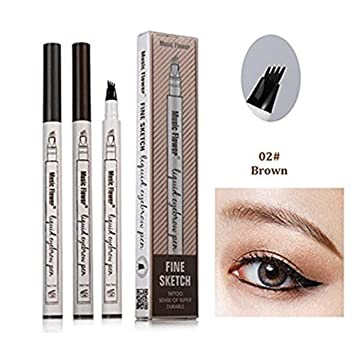 Eyebrow Pen, 2018 Professional Tattoo Eyebrow Pen with Four Tips Long-lasting Waterproof Brow