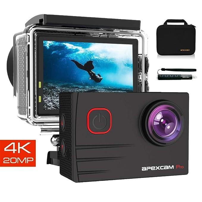 29 opinioni per Apexcam Action Cam PRO 4K HD 20MP EIS WIFI Ultra Impermeabile 40M Sott'acqua