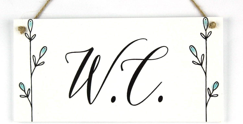 /Fait /à la Main en Bois de Style Shabby Chic Plaque de Porte//Plaque pour WC ou vestiaire Floral Bleu Lilylotties W.C./
