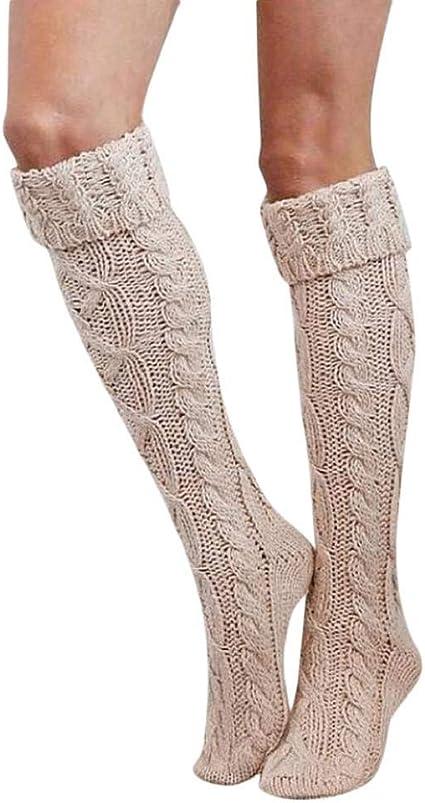 SHOBDW Mujeres Niñas Tejer Grueso Caliente Muslo Alto Sobre La Rodilla Calcetines Calcetines de Algodón Térmico Señoras Medias Largas Regalo de Día de San Valentín: Amazon.es: Ropa y accesorios