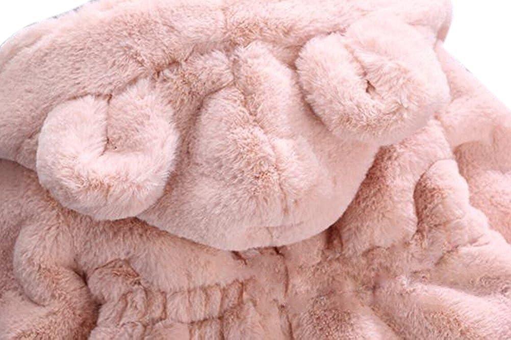 TAIYCYXGAN Baby Little Girls Winter Fleece Coat Kids Faux Fur Jacket with Hood Thicken Outwear Warm Overcoat