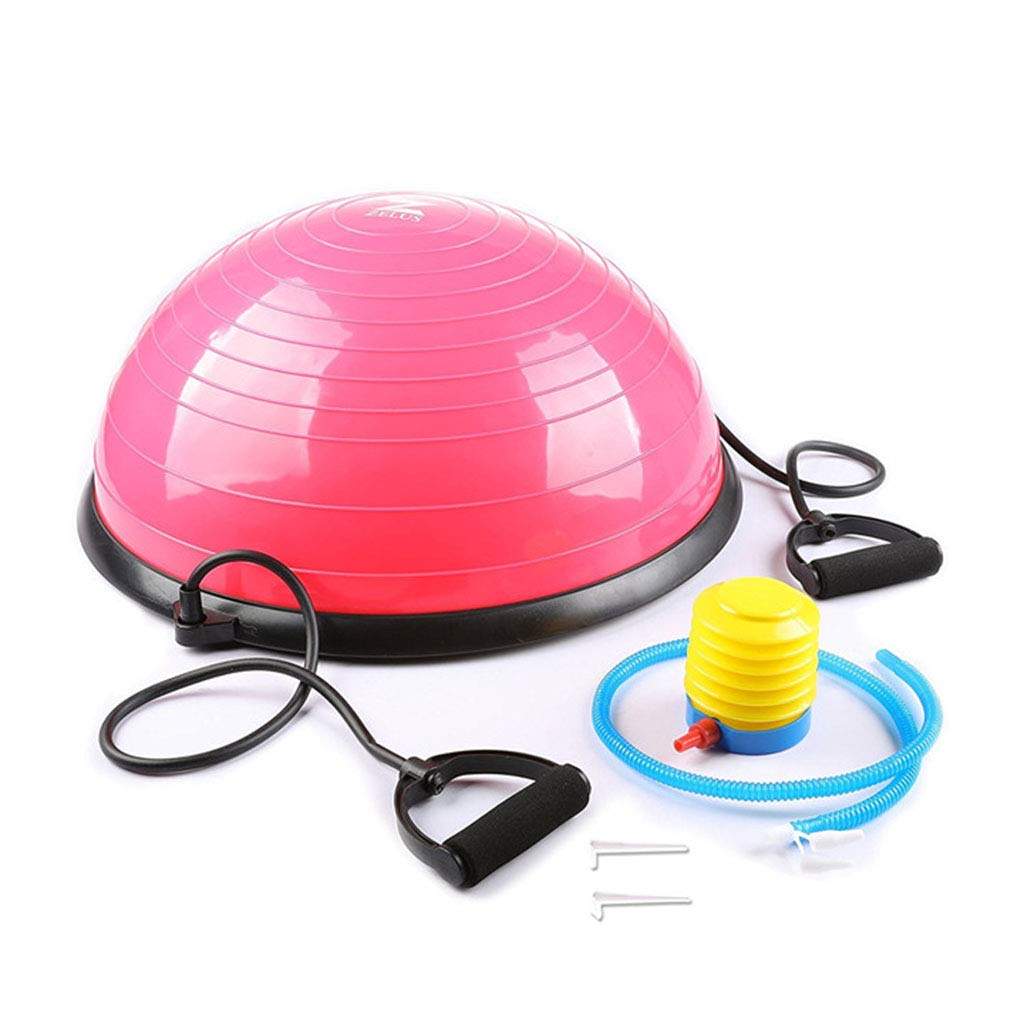 Pink 57.957.924.9cm Blocks Yoga Ball Detachable Fitness Ball SemiSpherical Balance Training Ball Wave Speed Ball Strength Trainer Can Bear 150 kg (color   Silver, Size   57.9  57.9  24.9cm)