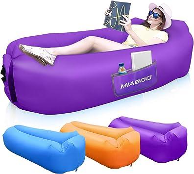 MIABOO - Sofá hinchable, impermeable, hinchable, con bolsa de transporte, para dormir al aire libre, en interiores, para relajarse y descansar, con manta de picnic (lila)