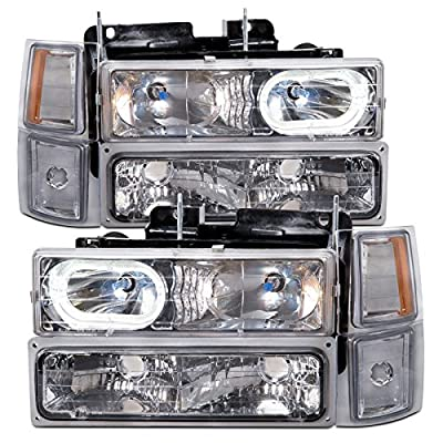 Chevy Truck Chrome Headlights w/Halos and Halogen-Type Xenon Headlight Bulbs
