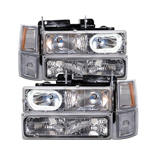 HEADLIGHTSDEPOT Halogen Headlights 8Pc Compatible with Chevrolet Pickup Blazer C1500 Suburban C2500 C3500 K1500 K2500 K3500 Tahoe 1994-2001 Includes Left Driver and Right Passenger Side Headlamps