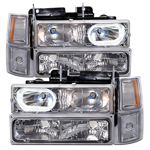 HEADLIGHTSDEPOT Chrome Housing Halogen Headlights w/Halos Compatible with Chevrolet Blazer Suburban C/K Truck 1500 2500 3500 Silverado Tahoe Includes Left Driver and Right Passenger Side Headlamps