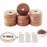 LDREAMAM 12 Stück Natürlicher Mottenschutz,3 Pack Zedernholz Duftsäckchen,Angenehm duftende Zedernholz Ringe