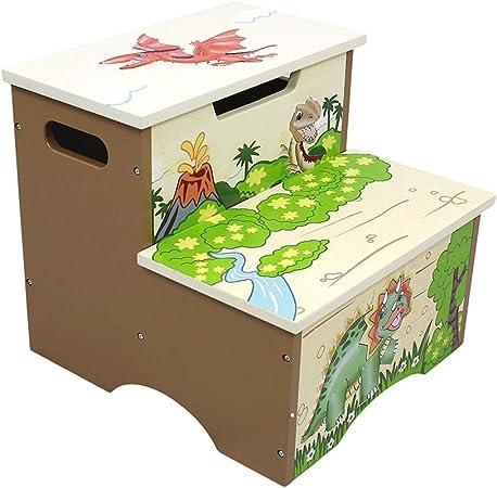 Yang baby Niños Escalera de Madera Taburete Taburete de Banco Ascenso de pie Banco de Almacenamiento de Dibujos Animados: Amazon.es: Hogar