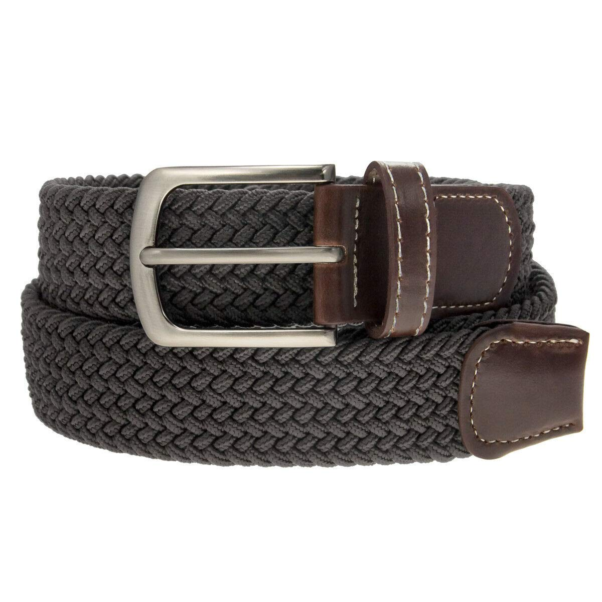 Durable Braided Belt Nickel Finish Buckle Faux Leather Elastic Woven Stretch Mens Womens Color Grey Size S