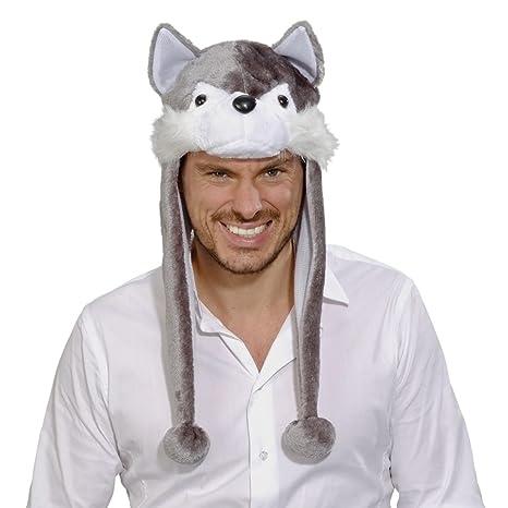 Cuffia di peluche a forma di lupo Cappello con lupetto grigio-bianco  Cappello con cane fac10d3b00be