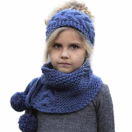 Amazon.com  Gbell Baby Kids Winter Wool Knitted Fox Hats and Scarf ... 274071e6b86