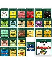 VAHDAM, Best Tea Assortments - 50 Tea Bags | 25 Long Leaf Pyramid Tea Bags, 2 Servings Each | 100% Natural Ingredients with Better Infusion | Green Tea, Herbal Tea, Black Tea and Chai Variety Pack