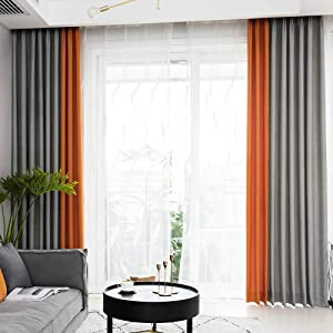 Linen Textured Curtains for Living Room Blackout Window Drapes Grommets Top Orange Grey Patchwork Design Window Treatment Set for Bedroom 2 Panels Room Darkening Curtains,52x84 Inches