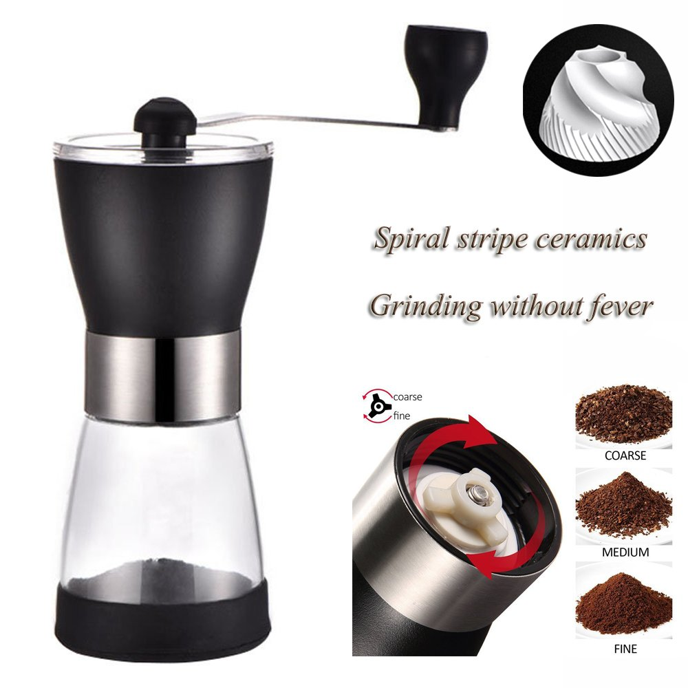 Hand Crank Manual Coffee Grinder Mill with Professional Grade Conical Ceramic Burr,Suliko Hand Ground Coffee Beans Taste Best,Adjustable Coarseness Screw,Precision Brewing with 1 Glass Containers