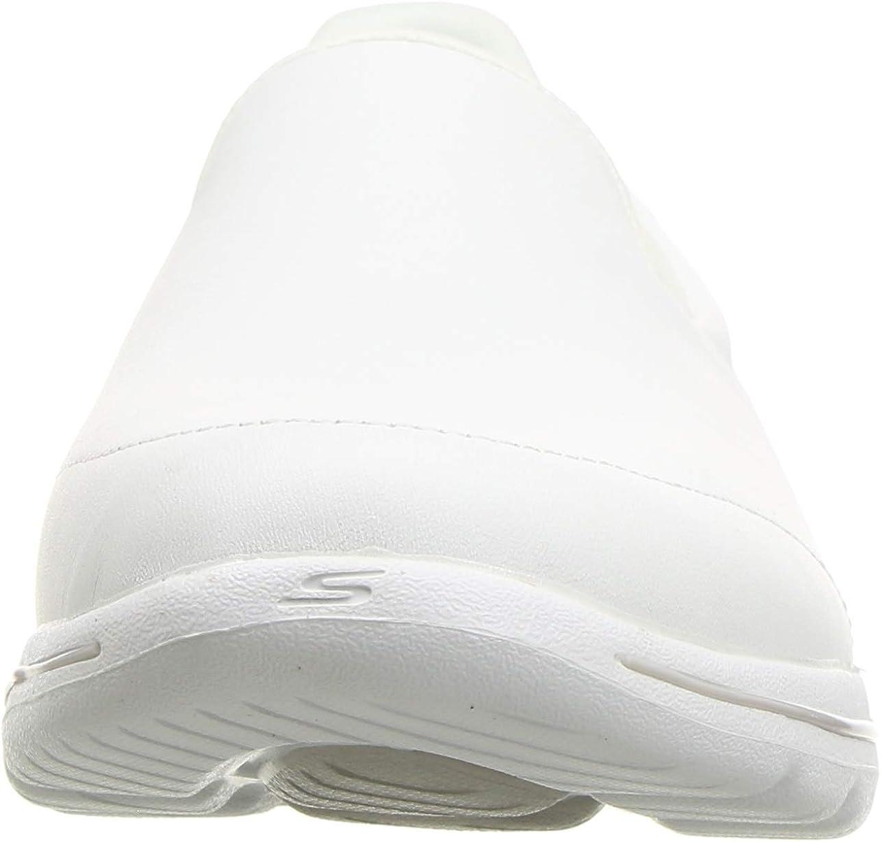 Skechers Go Walk 5 - Polished, Zapatillas sin Cordones para Mujer Blanco ( White Leather/Trim Wht)
