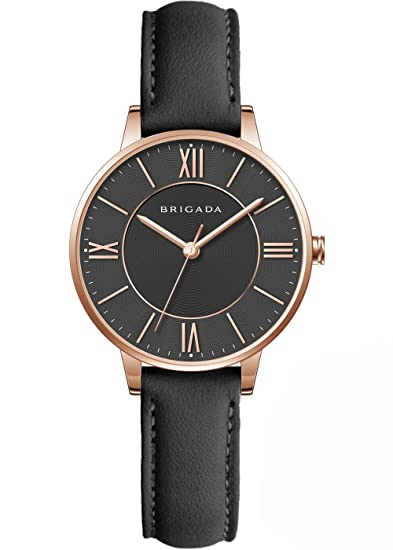 04a190433 Swiss Brand Elegant Black Ladies' Dress Quartz Wrist Watch Leather Band  Women Wrist Watch for