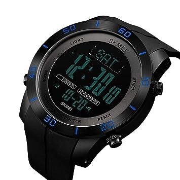 WULIFANG Reloj De Hombre Deportiva Digital Brújula De Vidrio De 50 Metros De Agua De Vigilancia De La Salud Electrónica Hora Dual Watch Watch Negro Azul ...