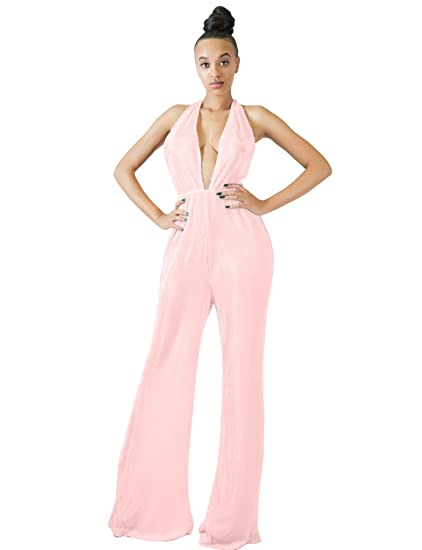 01c245302299 Amazon.com  Sedrinuo Women s Sexy Clubwear Jumpsuits Deep V Neck ...