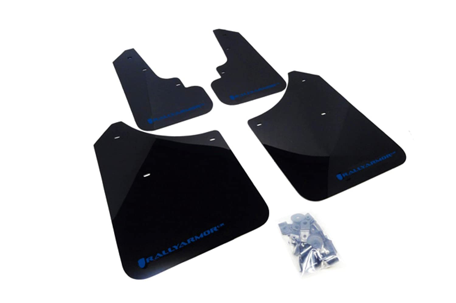 2003-2008 Subaru Forester UR Blue Mud Flap with Logo Rally Armor MF5-UR-BLK//BL Black