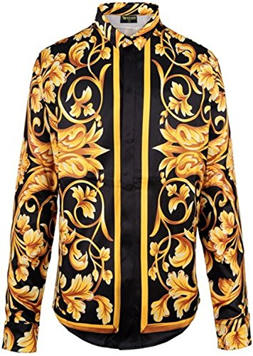 PIZOFF Mens Long Sleeve Luxury Golden Strips Flowers Floral Print Dress Shirt Y1706-10-XXL