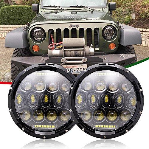 AUSI 7 inch LED Headlights DOT Smoke with Hi/Lo Beam Set Kit Projector Headlamps Headlight Light for Jeep Wrangler JK JKU TJ LJ CJ Sahara Rubicon Unlimited Sport Black