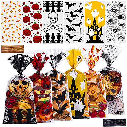 ANECO 150 Pieces Halloween Cellophane Candy Bags Treat Candy Bags Cookie Bags Trick or Treat Candy Bags with Twist for Halloween Party Gift Supplies