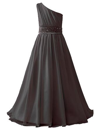 5b73e5d9de Belle House Girl's Long Chiffon Pageant Gown 2018 Black Wedding Flower Girl  Dress