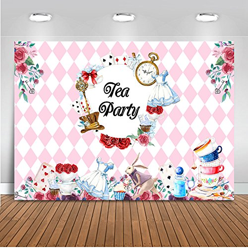 Mehofoto Tea Party Backdrop Floral Birthday Party Background for Bridal Shower 7x5ft Vinyl Teapot Tea Party Baby Shower Banner Decoration Backdrops ()