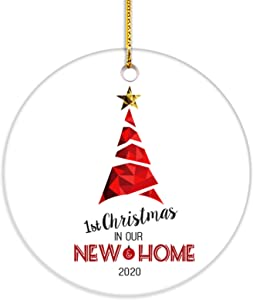 VILIGHT Our First Home Christmas Ornament 2020 -1st Xmas in New House Housewarming Gifts for Homeowner and Family - 2.75 Inch Flat Circle Ceramic Decor