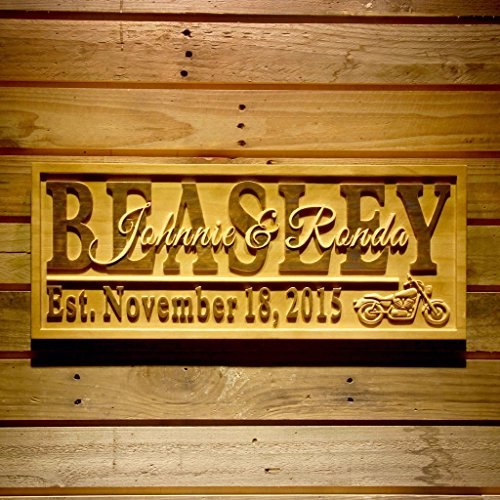 Wpa0370 Motorcycle Gifts Family Name First Names Personalized With Established Date Wedding Gift Wood Engraved Wooden Sign