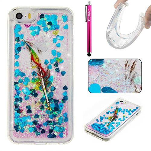 iPhone 5C Case, Firefish Slim Shock Absorption Slim Bumper Cover Anti-Slip Soft Silicone Protective Skin for Girls Children Fits for Apple iPhone 5C -Feather