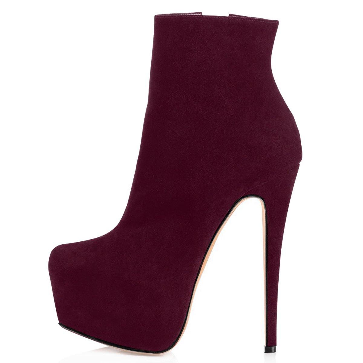 ELASHE Ankle Boots | 15cmTrendige Damen Stiefeletten | Plateau Stiefel mit Absatz43 EU|Bordeaux