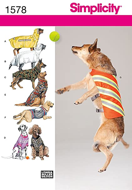 Amazon Simplicity 1578 Large Dog Clothes Sewing Pattern