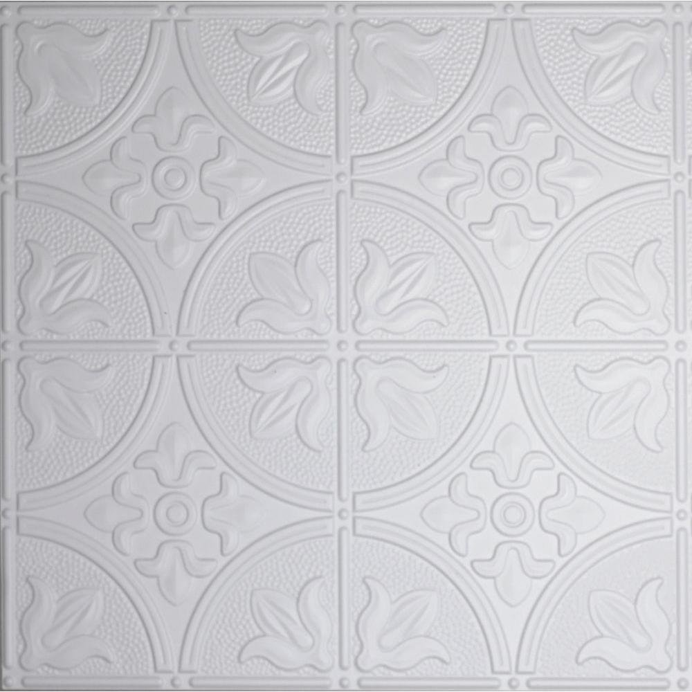 Dimensions 2 ft. x 2 ft. White Tin Ceiling Tile for Refacing in T ...
