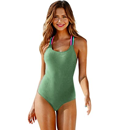 92320f278 Image Unavailable. Image not available for. Color  YOMXL Summer Women  Tankini Sexy Halter Back Bandage Bathing Suits Swimming Costumes One-Piece  Solid